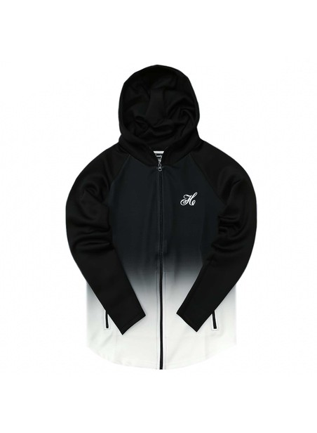 HENRY CLOTHING BLACK & WHITE FADE ZIP THROUGH HOODIE