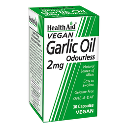 Health Aid Garlic Oil 2mg Odourless Vegetarian, Έλαιο Σκόρδου 30Caps