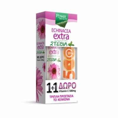 Power Health - Echinacea Extra με Στέβια & ΔΩΡΟ Vitamin C 500mg - 2x20eff.tabs