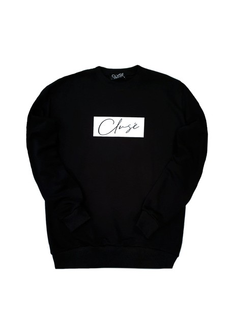 CLVSE SOCIETY BLACK CREW NECK WITH WHITE STAMP