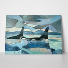 Abstract painting two killer whales swimming 308011199 a