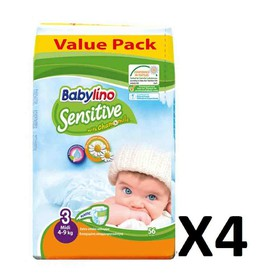 BABYLINO SENSITIVE MIDI N3 4-9kg 224 (=4x56) ΤΕΜΑΧΙΑ