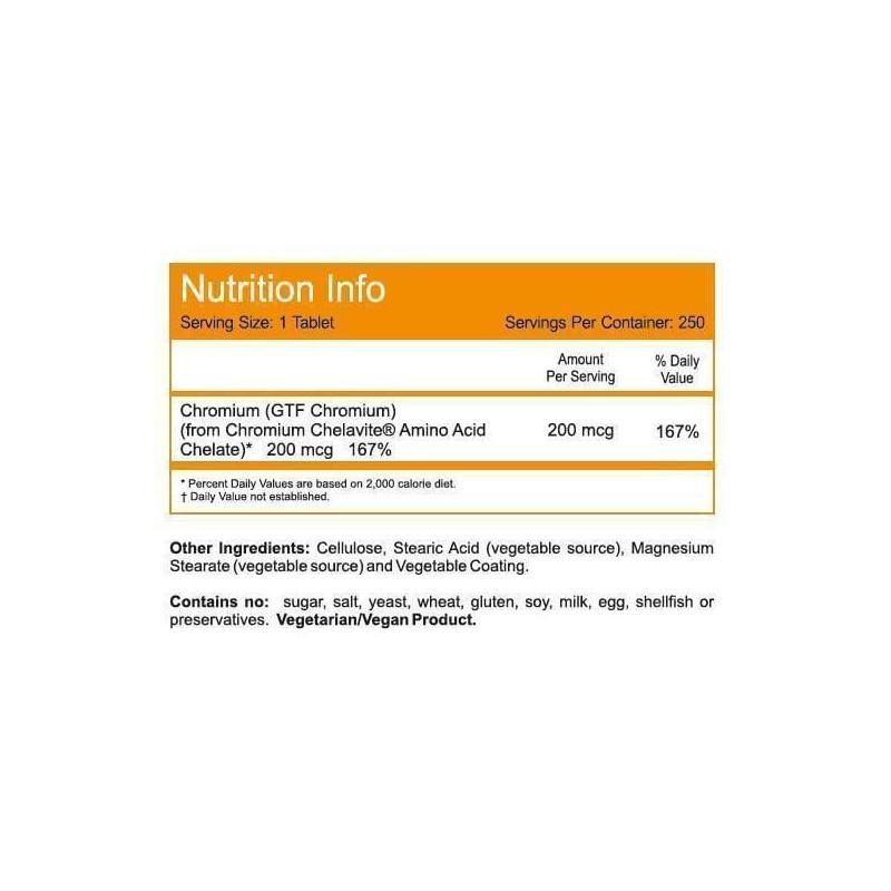 Now Foods | GTF Chromium 200 mcg Yeast Free 250 Tablets