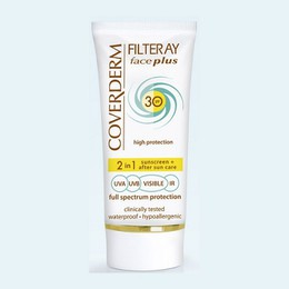 Coverderm Filteray Face Plus SPF50 Tinted Αντηλιακή Κρέμα Προσώπου & After Sun (2σε1) για Ξηρές/Ευαίσθητες Επιδερμίδες, Απόχρωση Soft Brown, Για 3 τύπους ηλιακής ακτινοβολίας, UVA, UVB και IR, 50ml