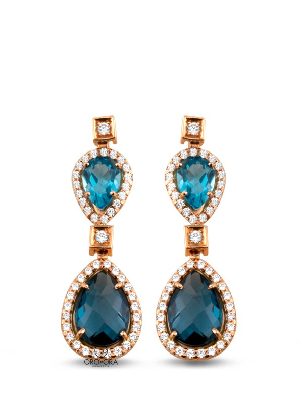 Earrings Rose Gold K14 with Zircon, Blue Topaz and London Blue