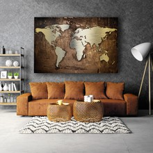 Grunge metallic world map