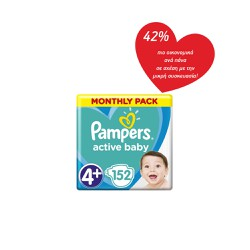 Pampers Active Baby Diapers Size 4+ (10-15kg) 152 Diapers