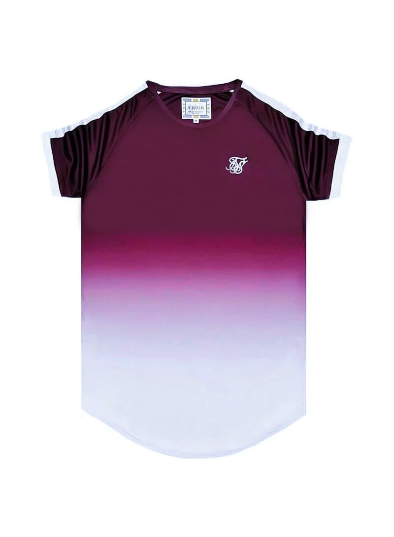 SikSilk  S/S Fade Tech Tee – Rich Burgundy Fade