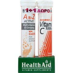 Health Aid Α to Z Active Multivitamins & Ginseng CoQ10 20 αναβράζοντα δισκία + Δώρο Health Aid Vitamin C 1000mg Orange 20 αναβράζοντα δισκία