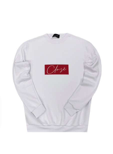 CLVSE SOCIETY WHITE CREW NECK WITH RED SUEDE LOGO
