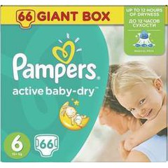 Pampers Active Baby Dry No6 (15+Kg) Βρεφικές Πάνες 66 τμχ
