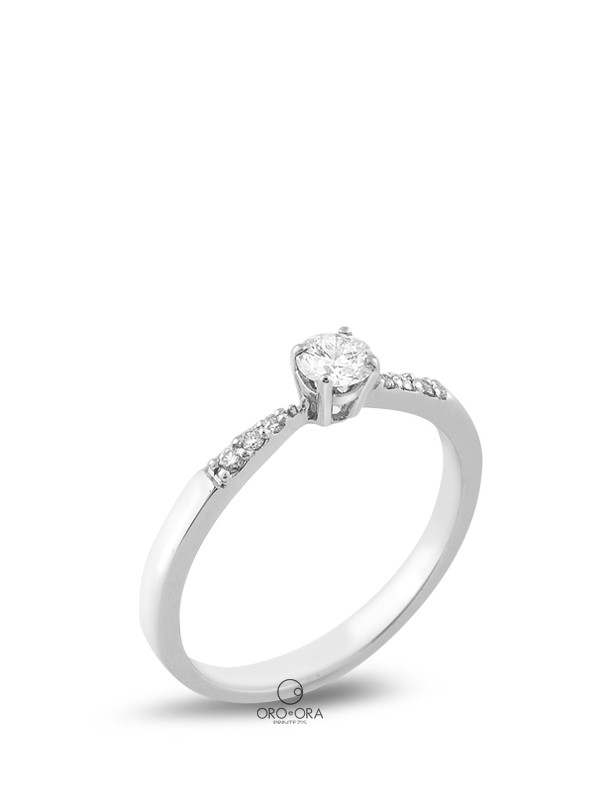 Solitaire Ring White Gold K18 with Diamond 0,19ct