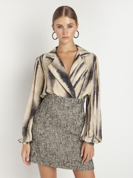 Lapel collar wrap bodysuit
