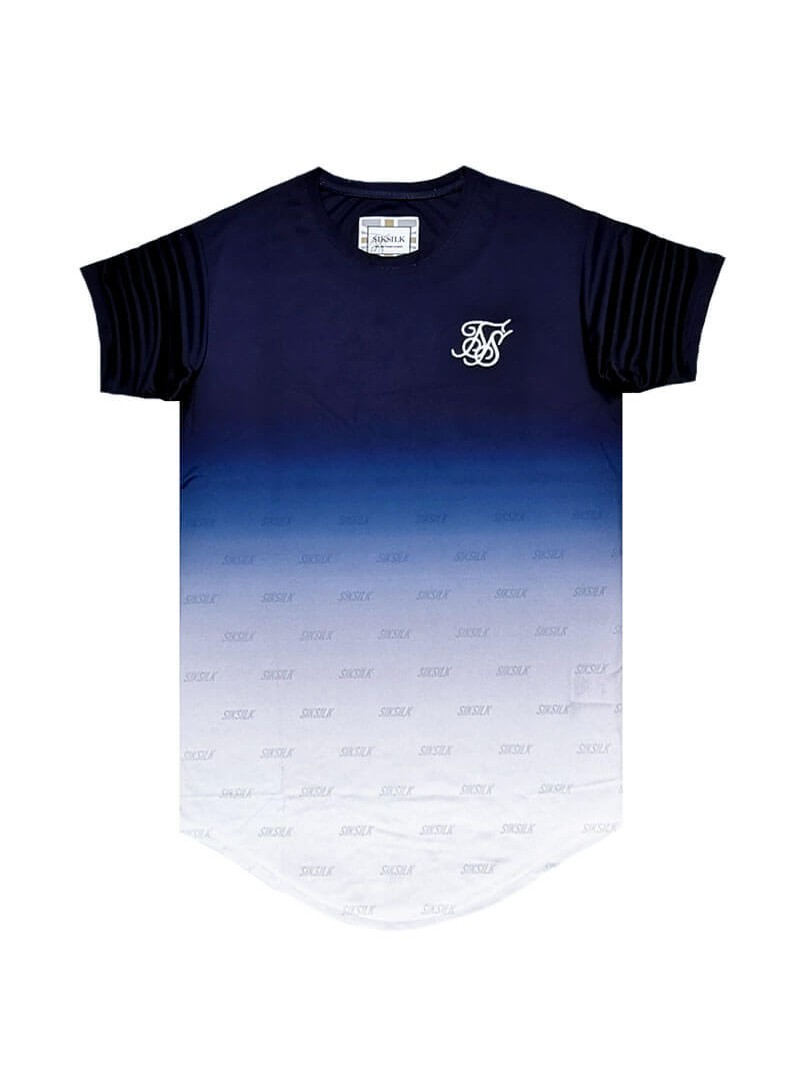 SikSilk S/S Curved Hem Tee - Navy & White