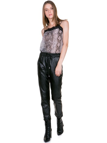 Leather look pants