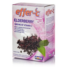 Now Foods Effer-C Vitamin C 1000mg Elderberry - Ανοσοποιητκό, 30 packets
