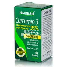 Health Aid Curcumin 3 with Piperine 600mg, 30tabs