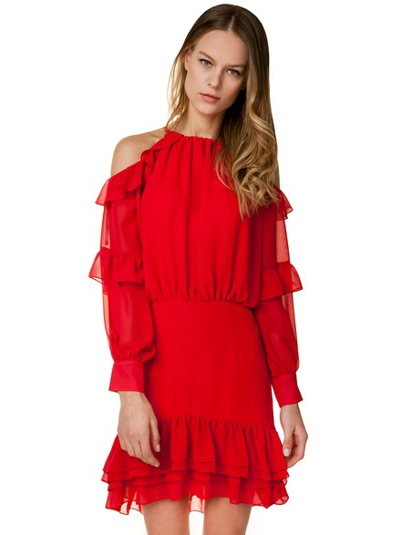 Φόρεμα με βολάν από μουσελίνα 757ac2a3a42