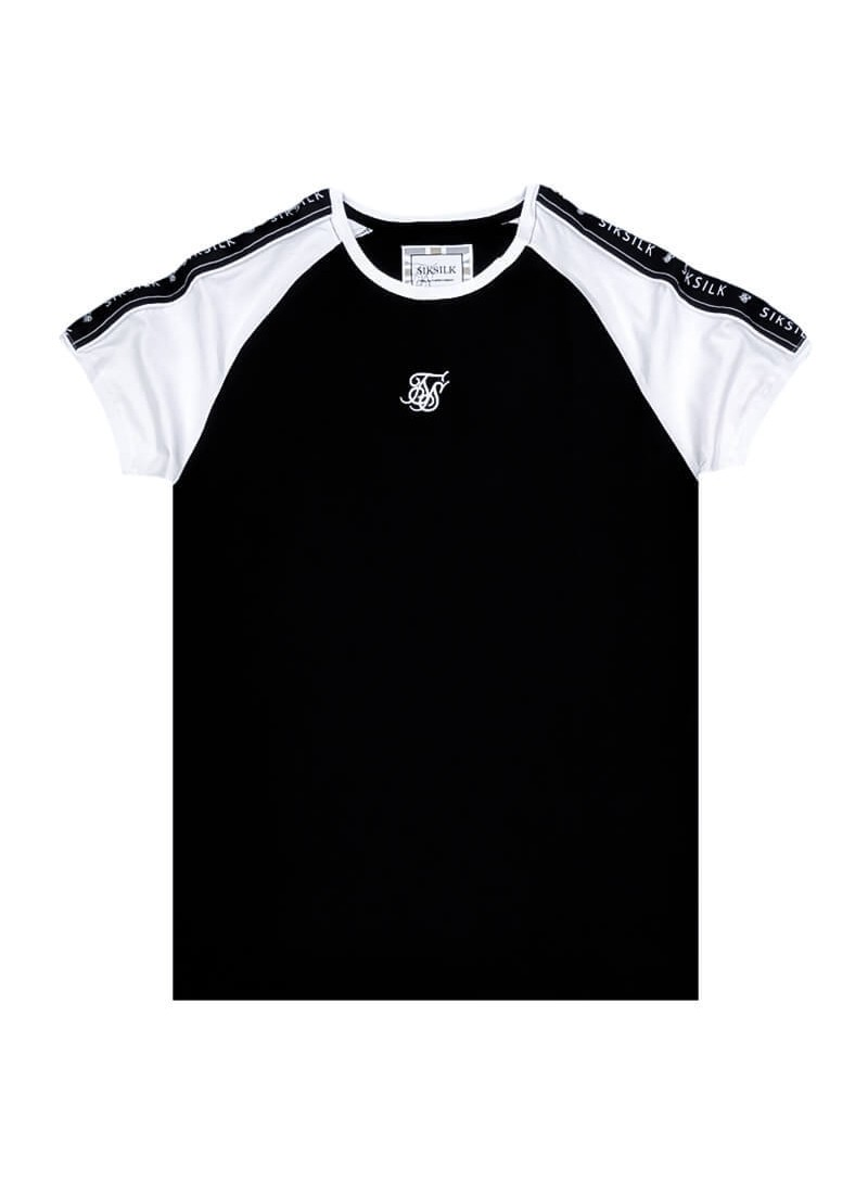 SikSilk S/S Raglan Straight Hem Tape Gym Tee in Black