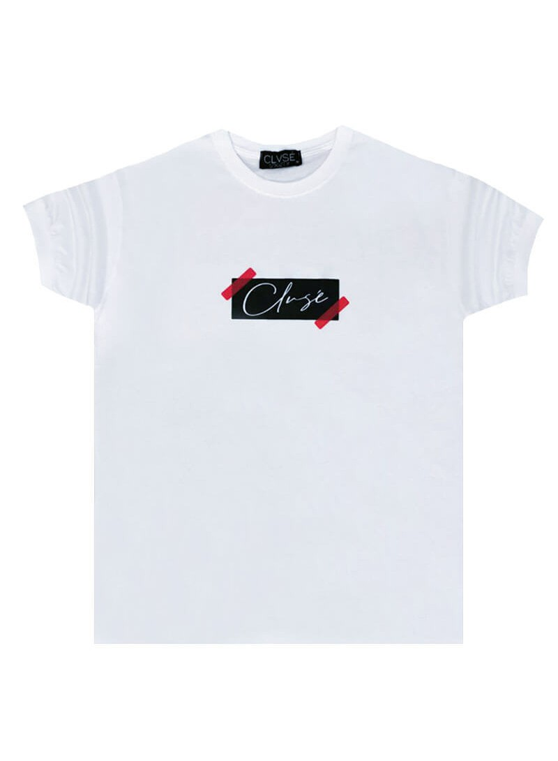 CLVSE SOCIETY WHITE T-SHIRT 502 TAPED LOGO