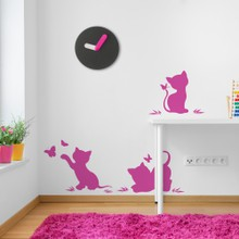 Silhouettes of cats with butterflies web