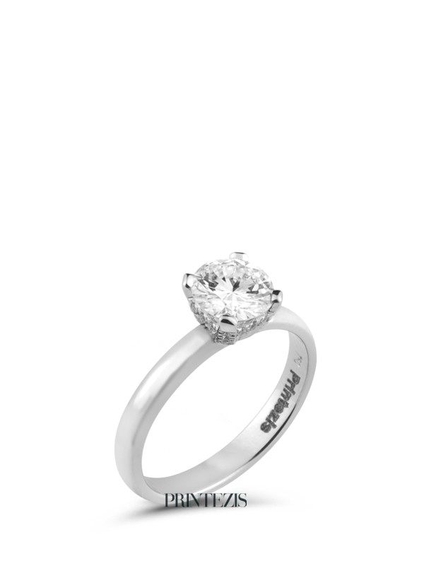 Solitaire Ring White Gold K18 with Diamond 0,59ct