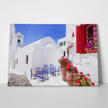 Traditional greek street flowers amorgos island 435508555 a