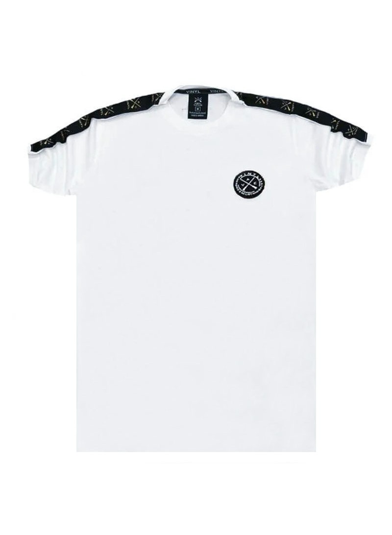 VINYL ART CLOTHING WHITE T-SHIRT WITH LOGO TAPING