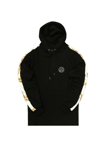 VINYL ART CLOTHING BLACK PRINTED STRIPED SIDE HOODIE