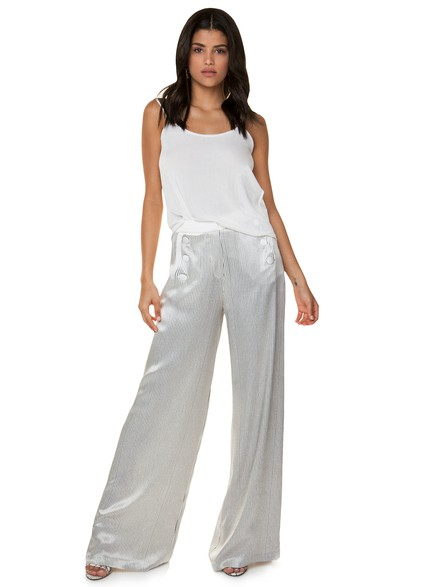 Satin striped trousers