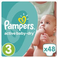PAMPERS ACTIVE BABY DRY 3 5-9KG 48 TEM