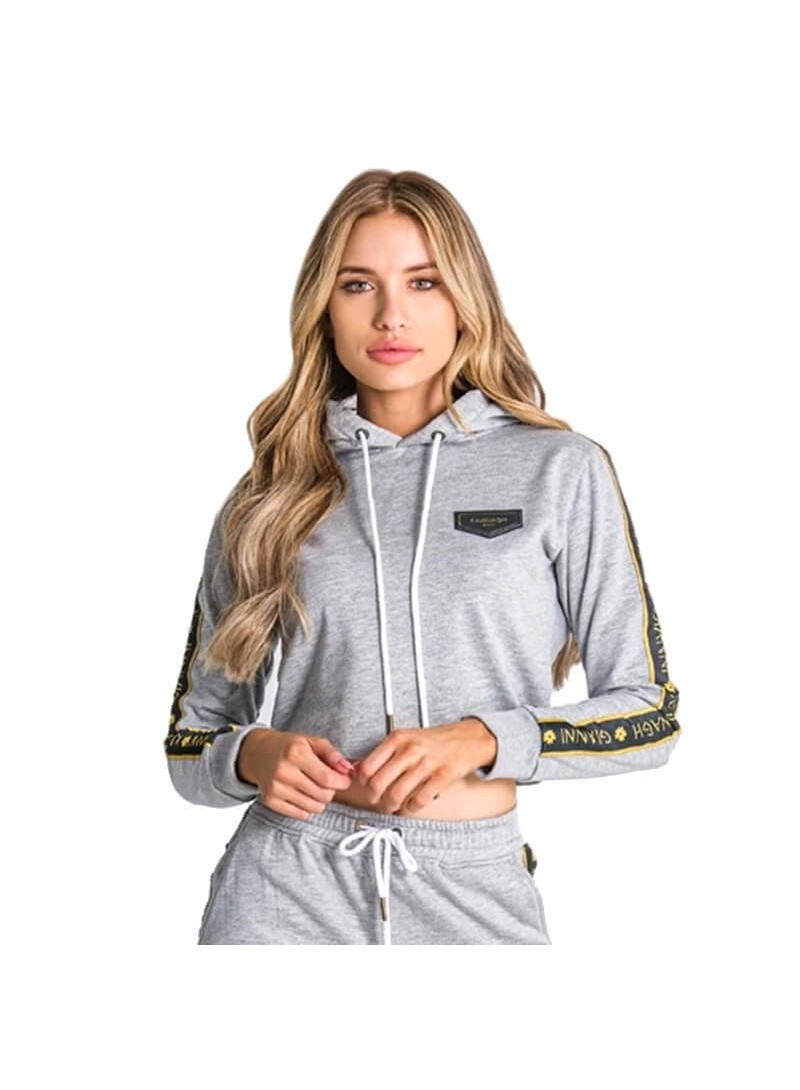 Gianni Kavanagh Grey Melange Cropped Hoodie With GK Ribbon