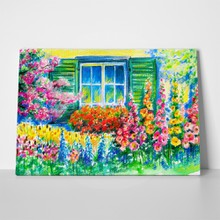 Flowering garden with window background 99368897 a