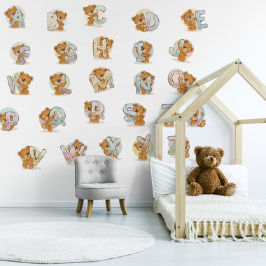 Alphabet with funny teddy bear web