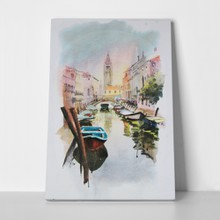 View canal boats buildings venice painted 89935219 a