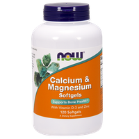 NOW CALCIUM & MAGNESIUM SOFTGELS WITH VIT. D-3 & ZINC, 120 SOFTGELS