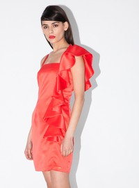 Satin ruffled bodycon dress