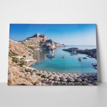 Lindos acropolis background beach 782944141 a