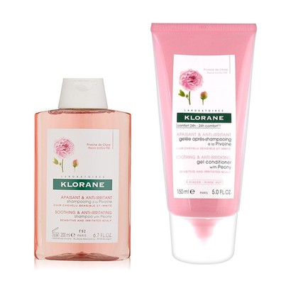 Klorane shampoo with peony soothing anti irritating 200ml   conditioner 150ml