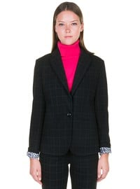 Plaid jacket with printed lining