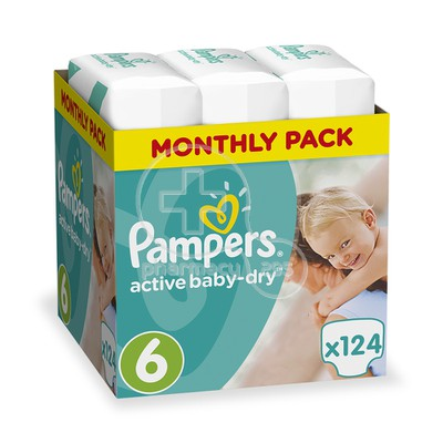 PAMPERS - MONTHLY PACK Active Baby Dry Monthly Pack No6 (15+kg) - 124 πάνες