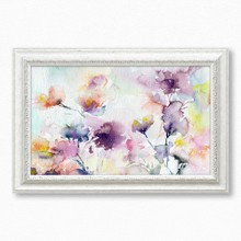 Watercolor abstract romantic purple flowers 393 71  65x40