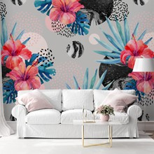 Watercolor tropical flowers with marble