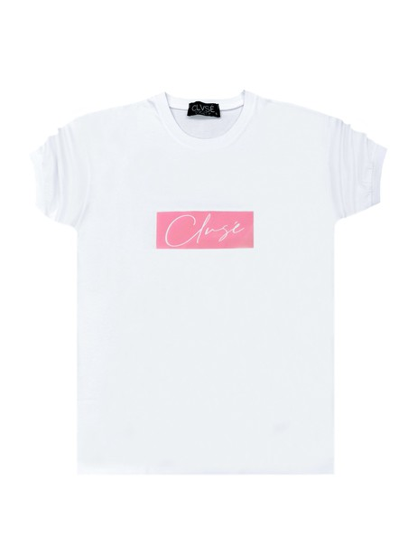 CLVSE SOCIETY WHITE T-SHIRT 304 PINK SUEDE LOGO
