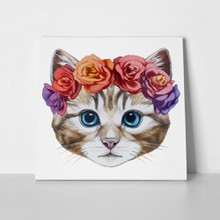 Cat floral head wreath 351933974 a