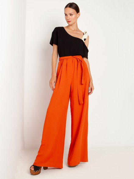 High waisted loose fit pants