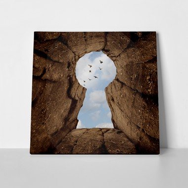 Keyhole shaped mountain cliff 313119116 a