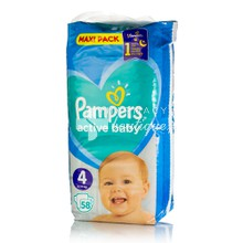Pampers No.4 (9-14kg) - Active Baby Maxi Pack, 58τμχ