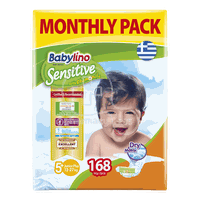 BABYLINO - MONTHLY PACK Babylino Sensitive Junior Plus No5+ (13-27 Kg) - 168 πάνες