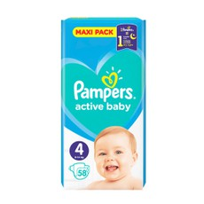 Pampers Active Baby Maxi Pack No4, 9-14kg 58Τμχ.